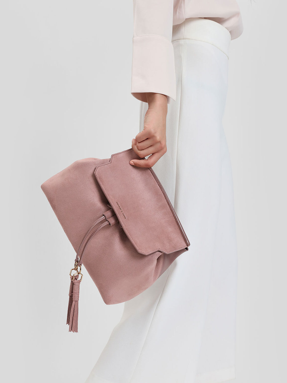 Tassel Detail Front Flap Backpack, Mauve, hi-res