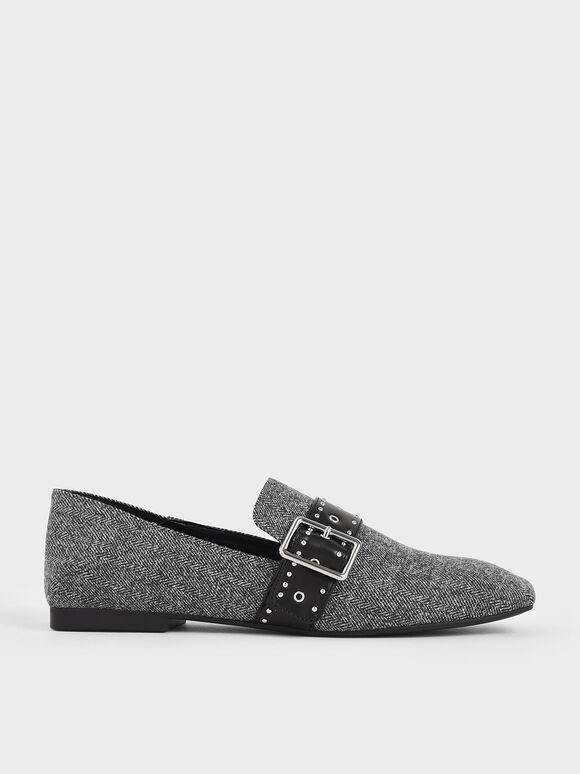 Woven Grommet Buckle Step-Back Loafers, Dark Grey, hi-res