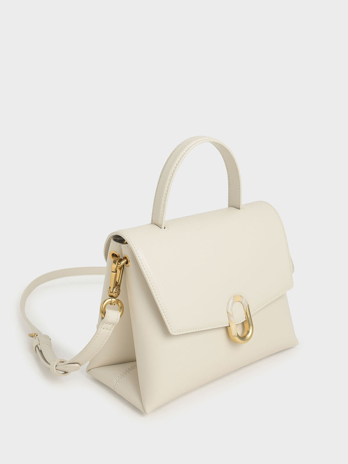 Stone-Embellished Handbag, Cream, hi-res