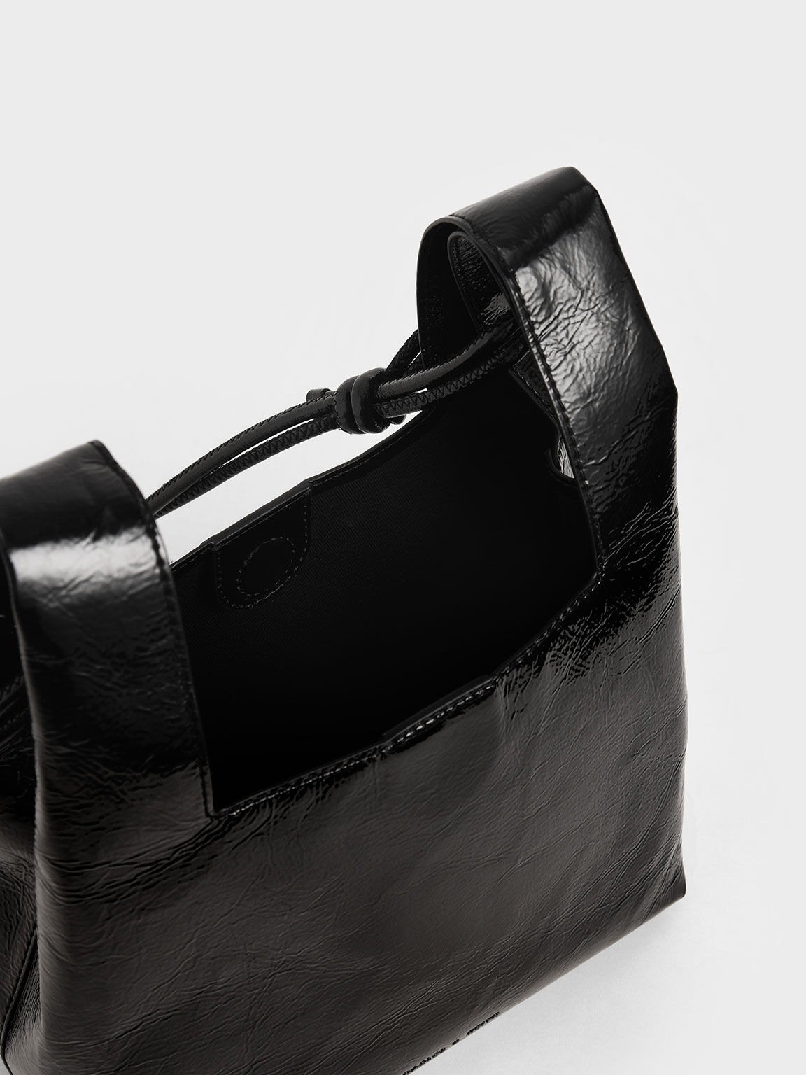 Patent Square Handle Tote Bag, Black, hi-res