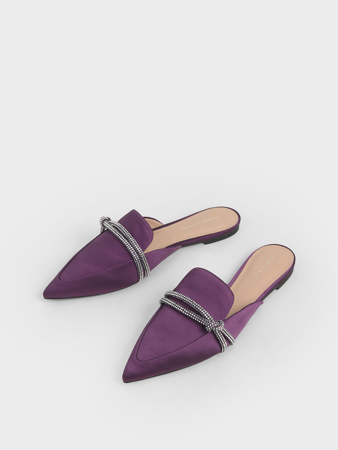 Satin Embellished-Knot Mules, Purple, hi-res