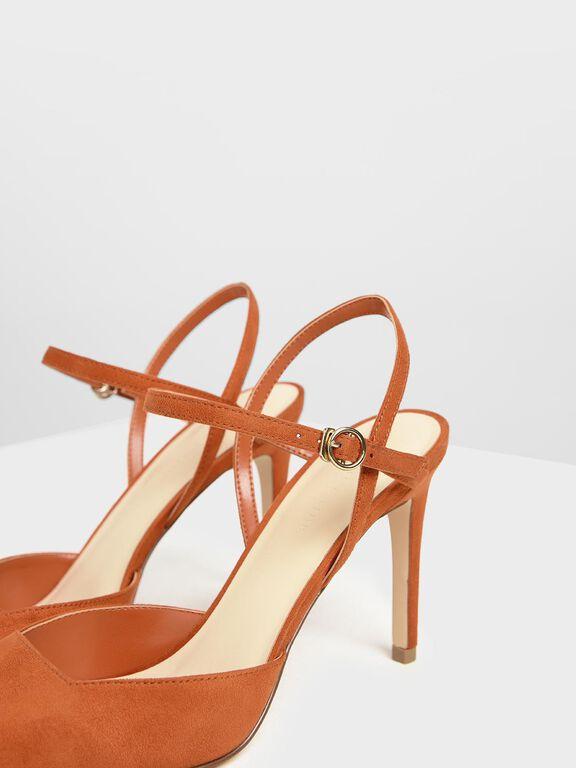 Ankle Strap Covered Heels, Orange