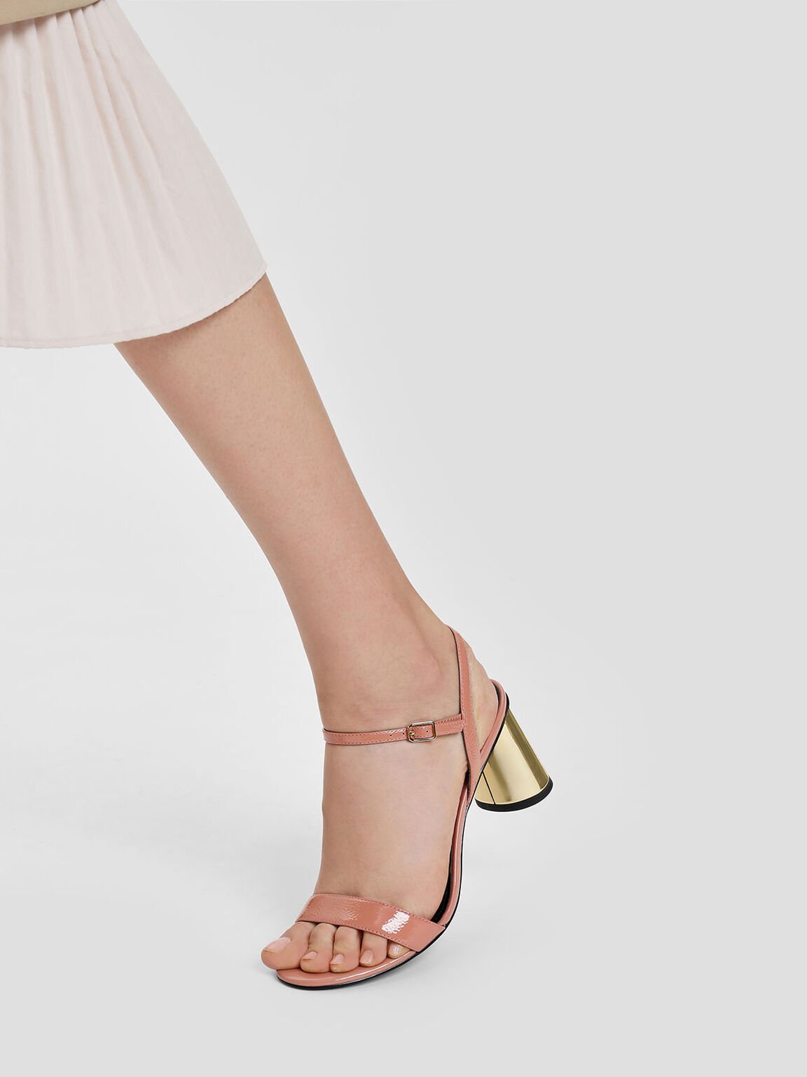 Chrome Heel Leather Sandals, Nude, hi-res