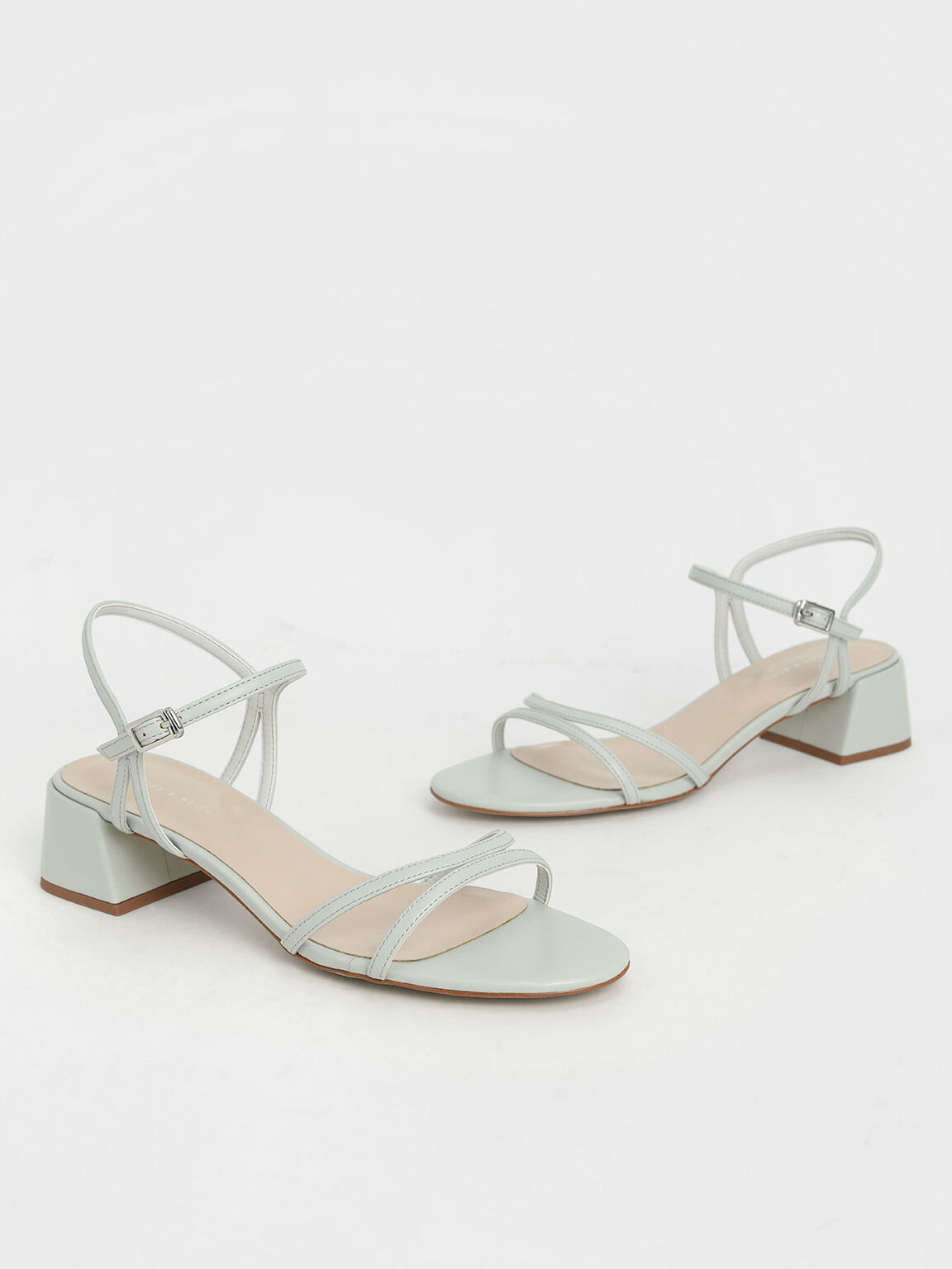 Strappy Block Heel Sandals, Grey, hi-res