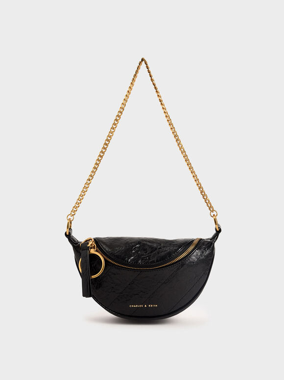 Half Moon Crossbody Bag, Black, hi-res