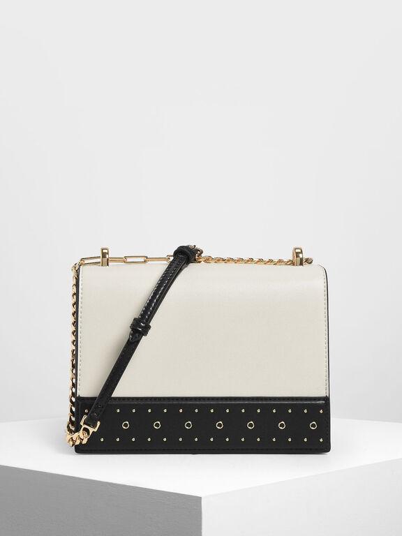 Stud Detail Crossbody Bag, Chalk