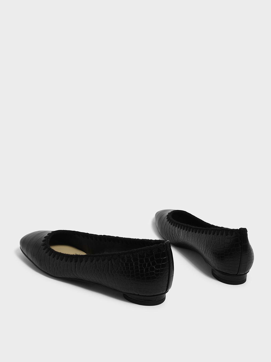 縫線滾邊平底鞋, 黑色, hi-res