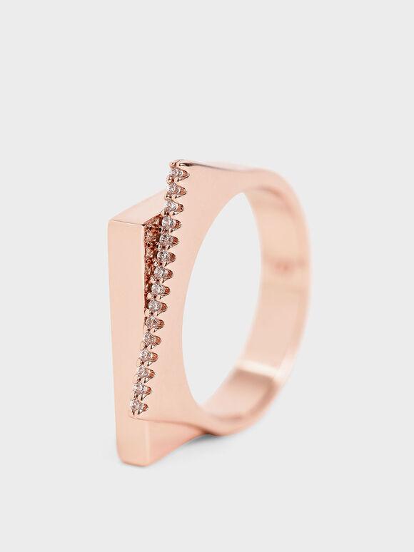 Swarovski® Crystal Studded Ring, Rose Gold, hi-res