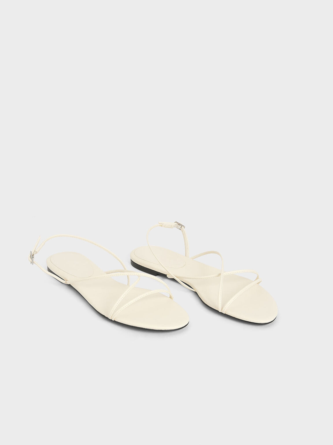 Strappy Flat Sandals, Chalk, hi-res