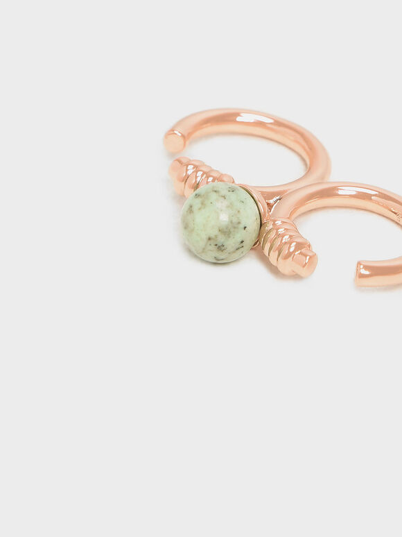Turquoise Stone Double Ring, Rose Gold, hi-res