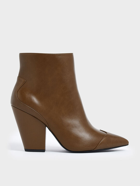 Zip-Up Chunky Heel Ankle Boots, Brown, hi-res