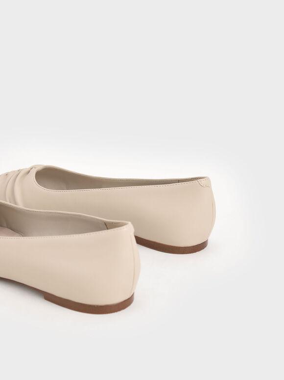 抓皺尖頭平底鞋, 灰褐色, hi-res