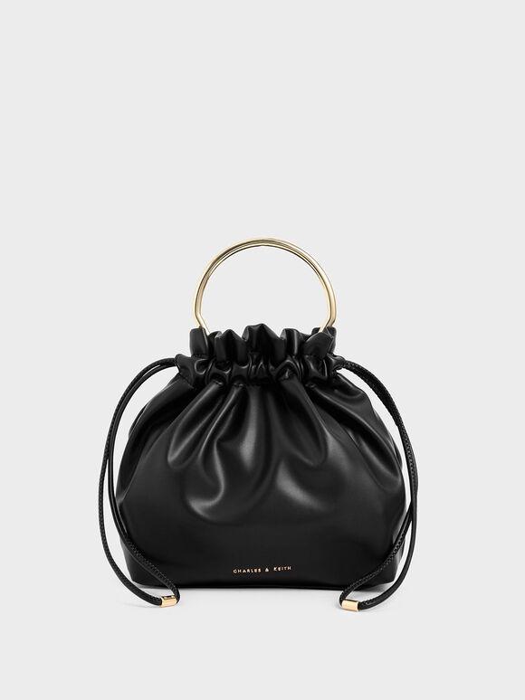 Mini Sculptural Top Handle Drawstring Bucket Bag, Black, hi-res