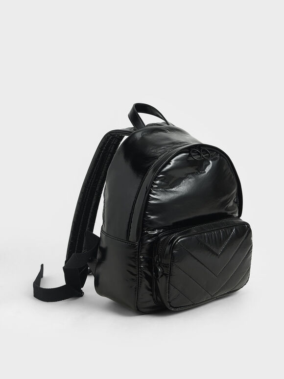 Quilted Double Zip Backpack, Black, hi-res