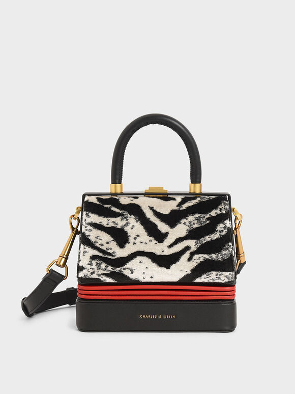 Velvet White Tiger Print Accordion Bag, Multi, hi-res