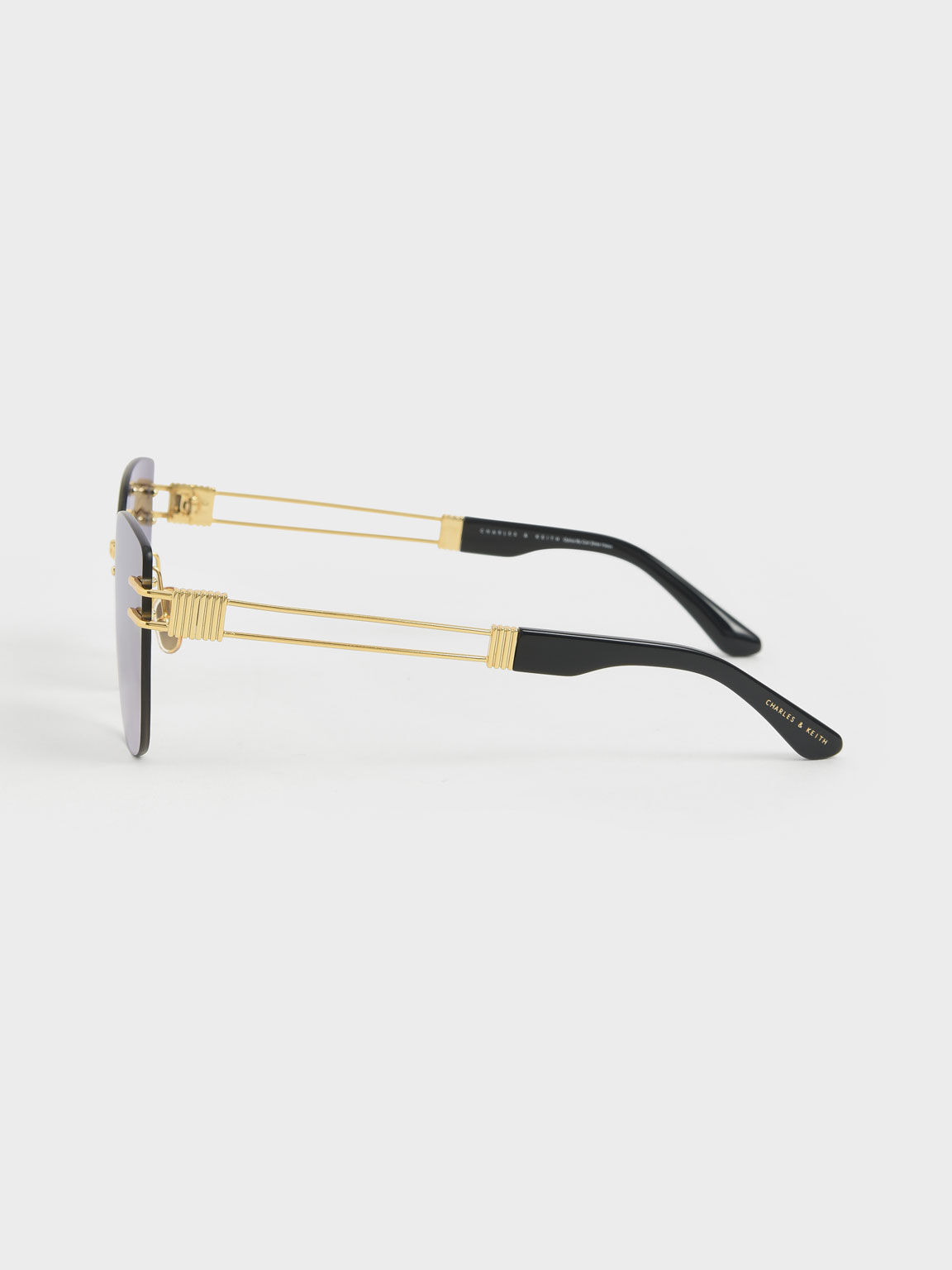 Rimless Butterfly Sunglasses, Black, hi-res