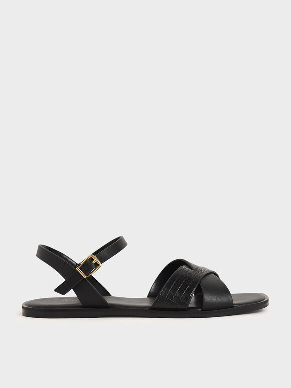 Mock-Croc Flat Sandals, Black, hi-res