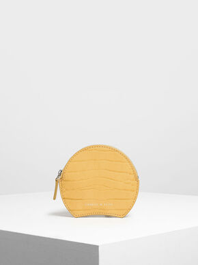 Semi Circle Croc-Effect Mini Pouch, Yellow