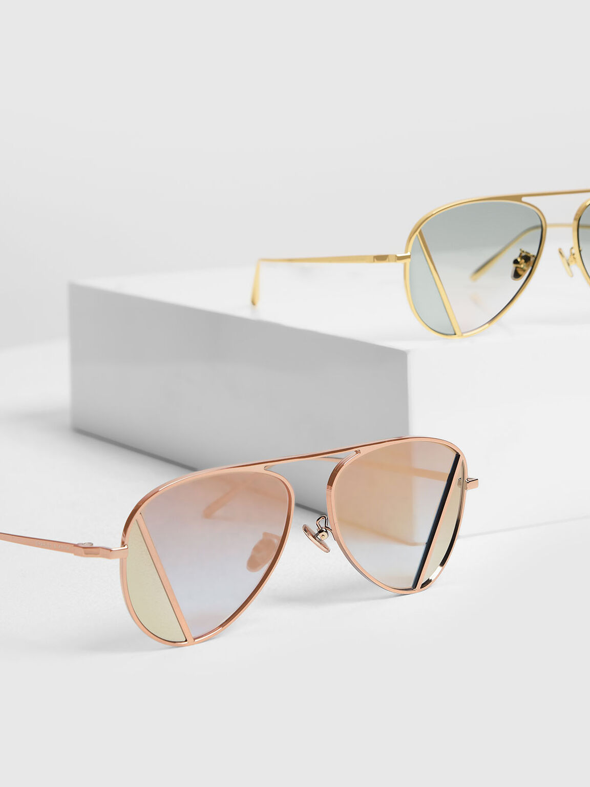 Two-Tone Aviator Sunglasses, Rose Gold, hi-res