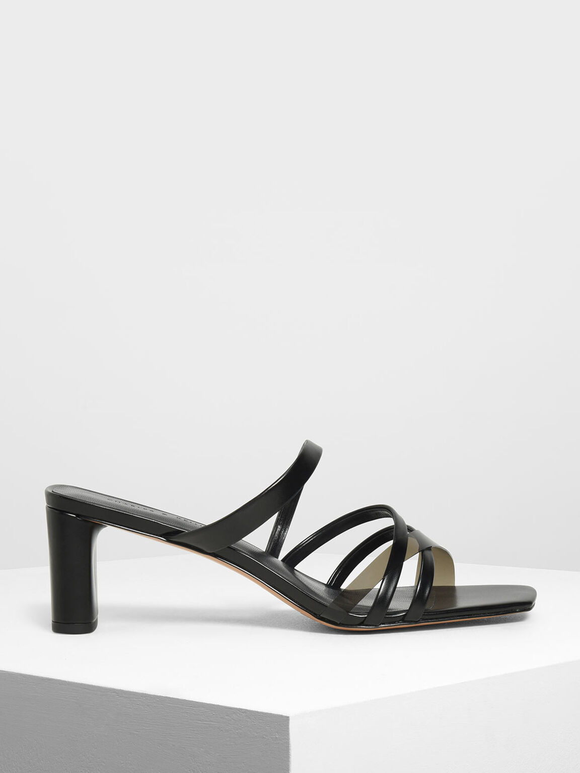 Strappy Slide Sandals, Black, hi-res