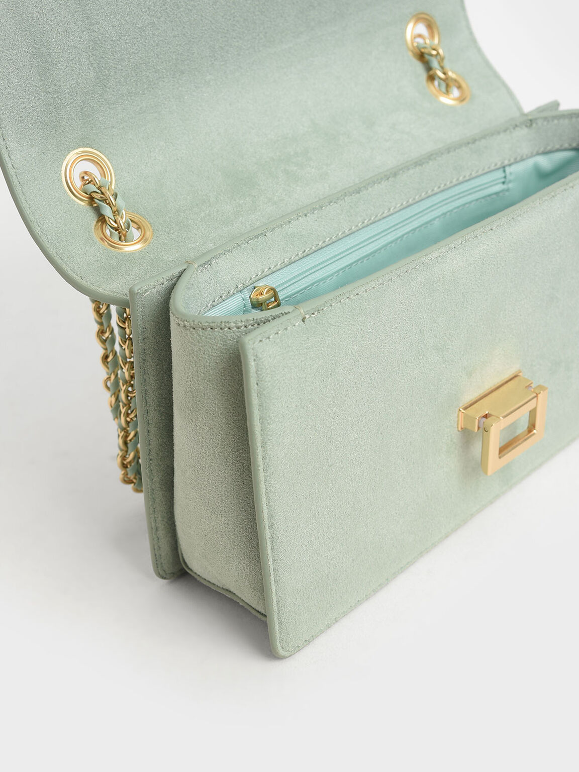 Textured Chain Handle Bag, Mint Green, hi-res