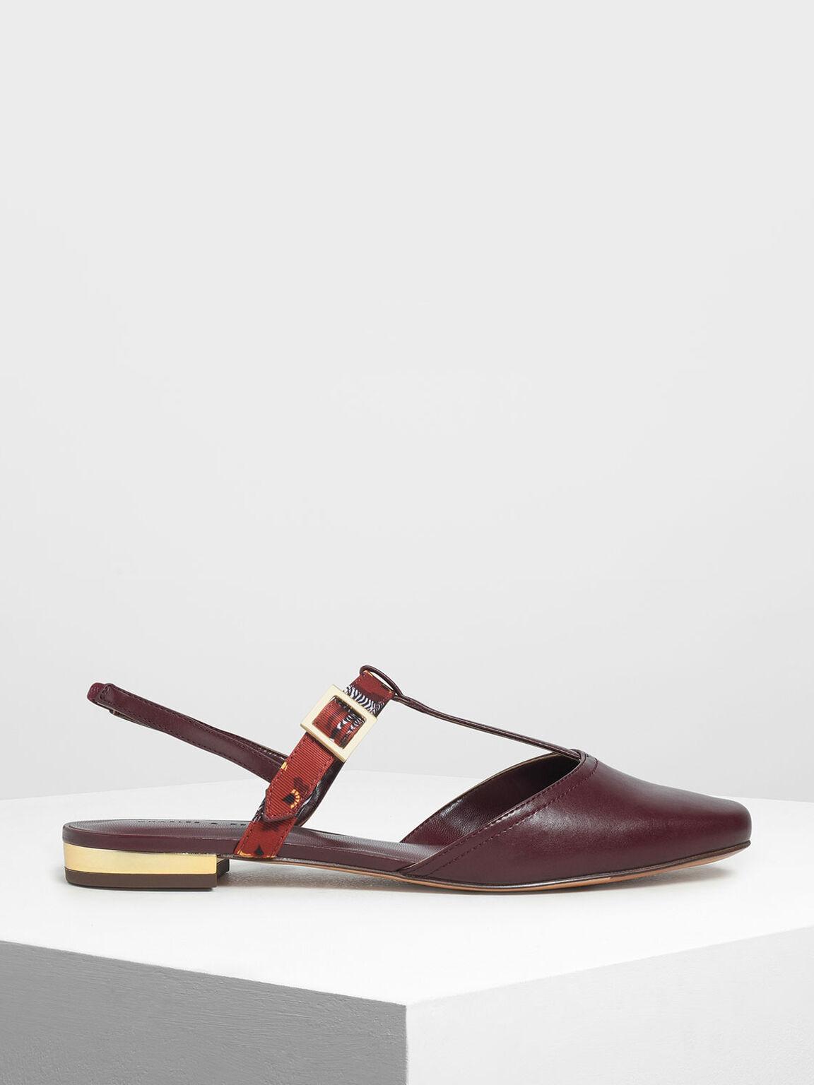 T- Bar Front Covered Sandals, Burgundy, hi-res