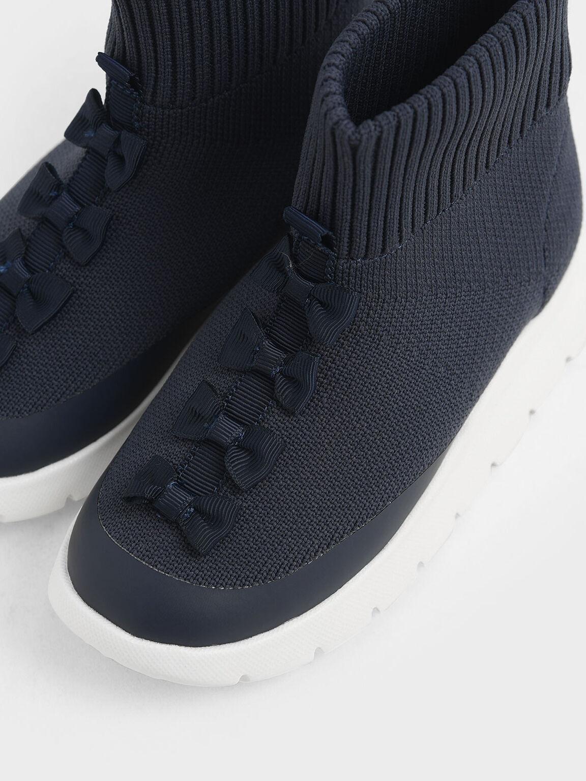 兒童蝴蝶結襪靴, 深藍色, hi-res
