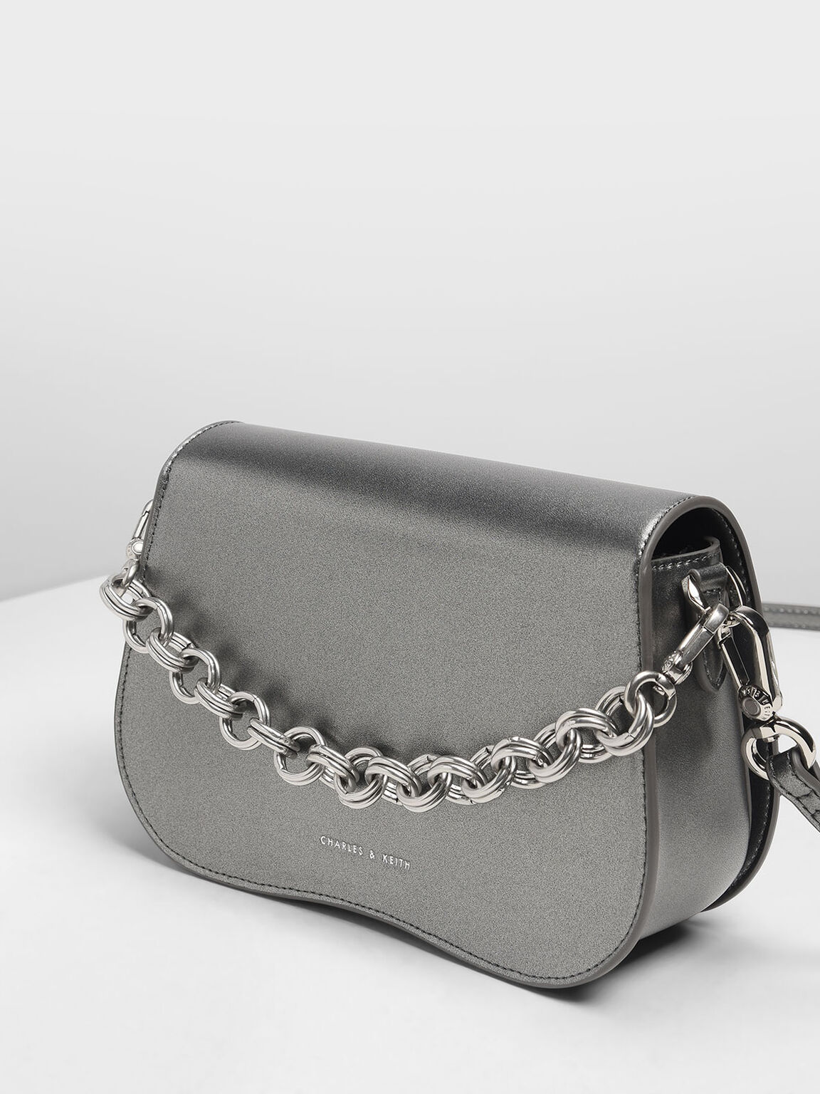 Curved Edge Crossbody Bag, Pewter, hi-res