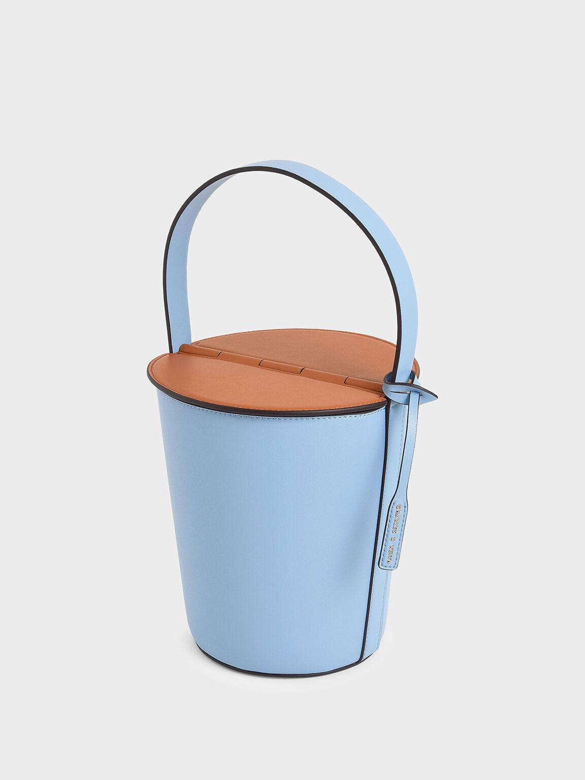 Cylindrical Top Handle Bag, Denim Blue, hi-res