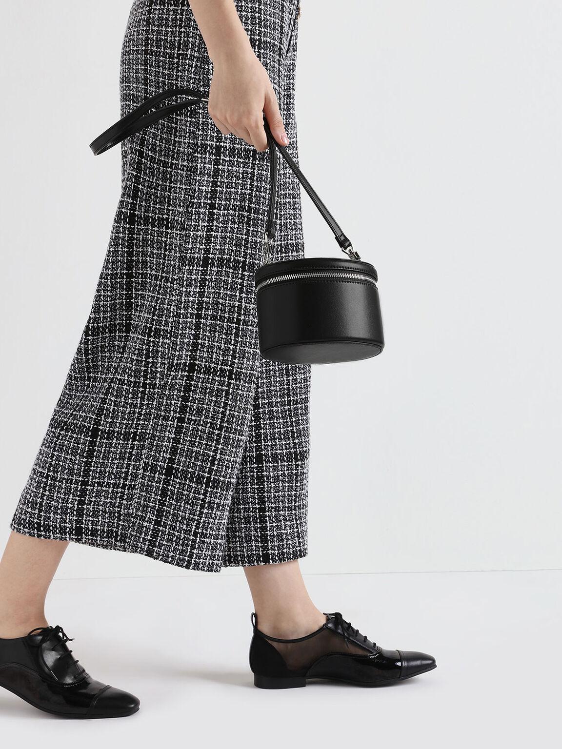 Metal Top Handle Round Structured Bag, Black, hi-res