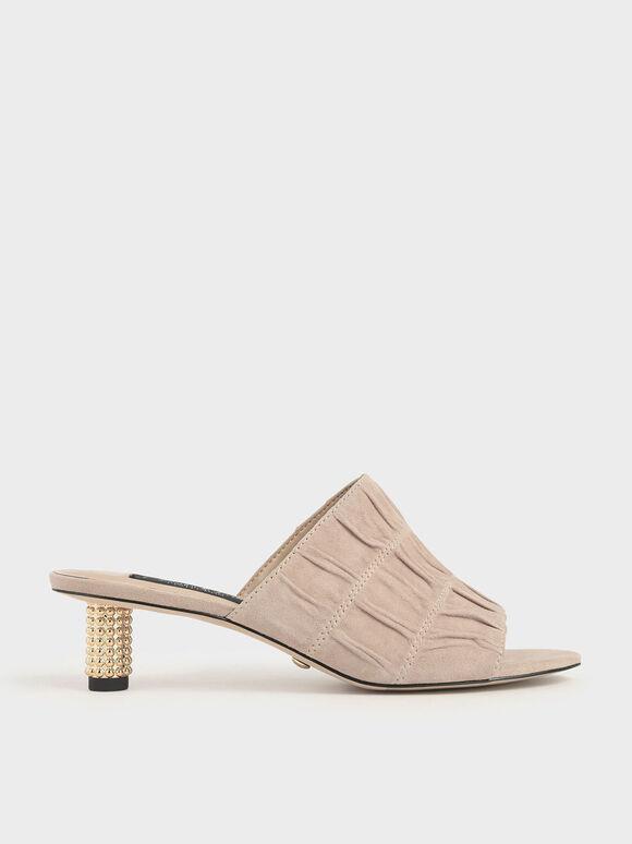 Embellished Heel Ruched Mules (Kid Suede), Sand, hi-res