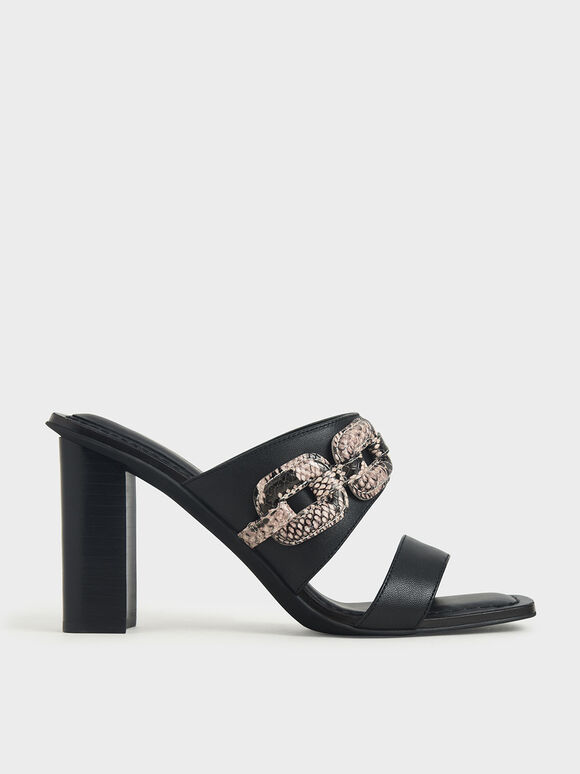Leather Snake Print Mules, Black, hi-res