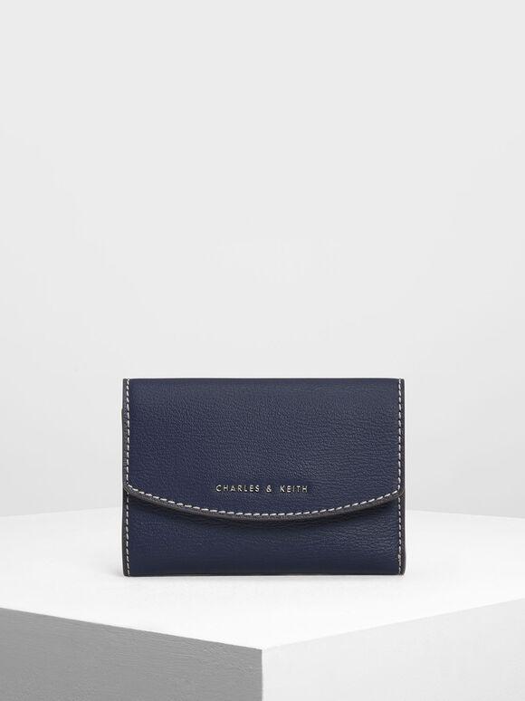 Single Flap Mini Wallet, Dark Blue, hi-res