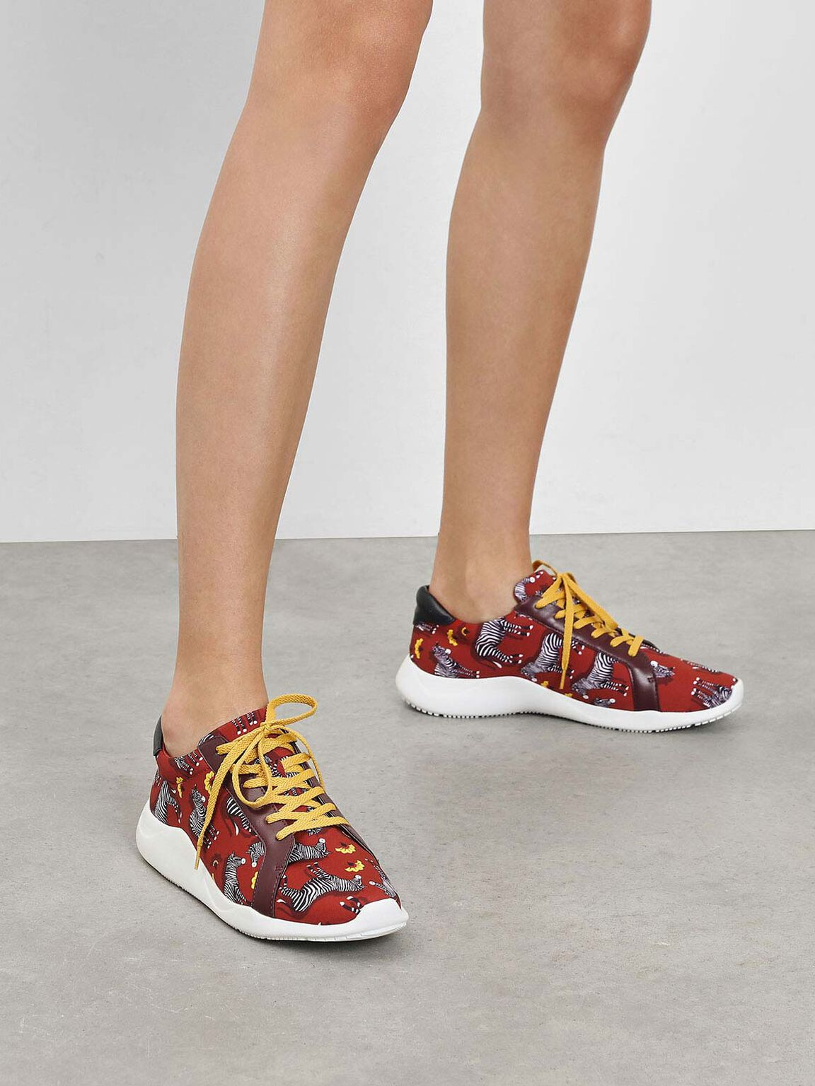 Zebra Print Fabric Sneakers, Red, hi-res