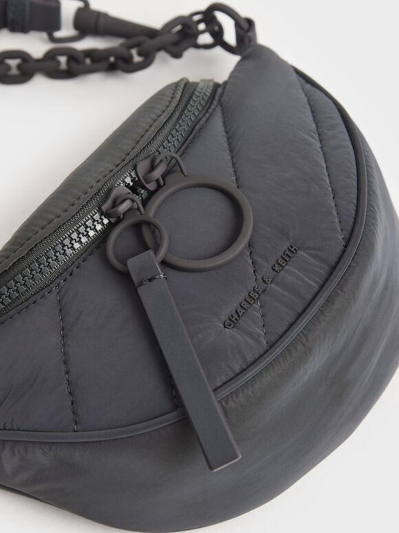 Nylon Semi-Circle Crossbody Bag, Peacock, hi-res