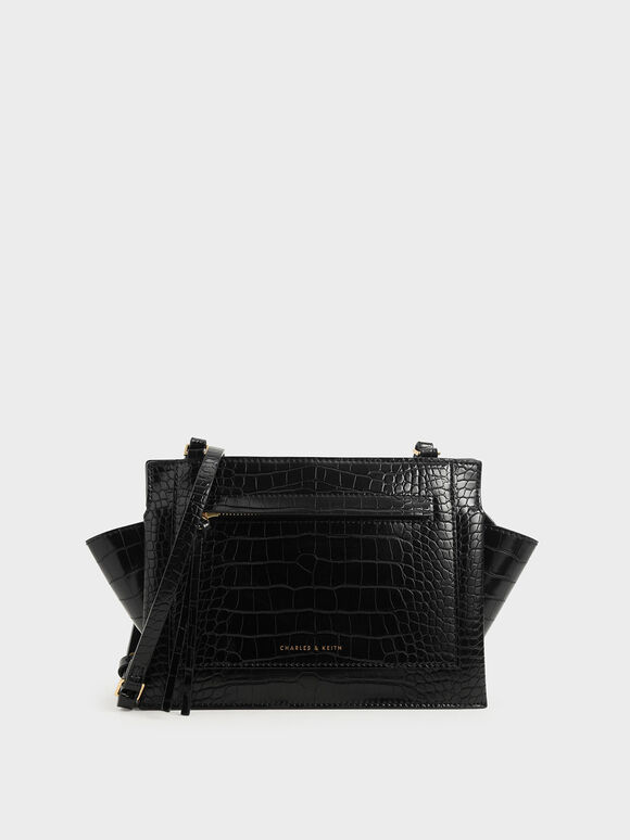 Croc-Effect Mini Trapeze Crossbody Bag, Black, hi-res