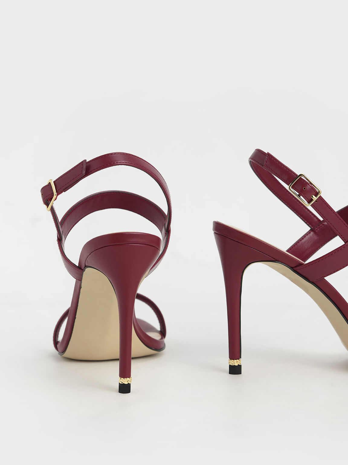 Ankle Strap Stiletto Sandals, Red, hi-res