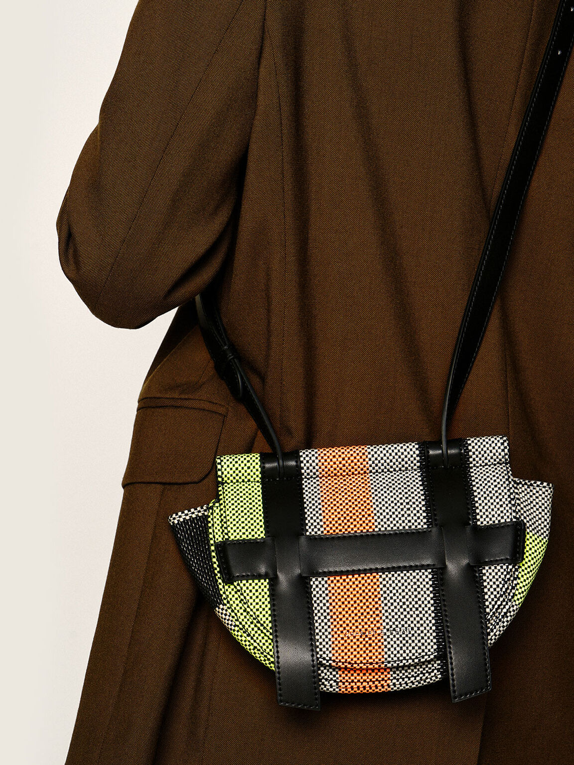 Small Caged Jacquard Crossbody Bag, Multi, hi-res