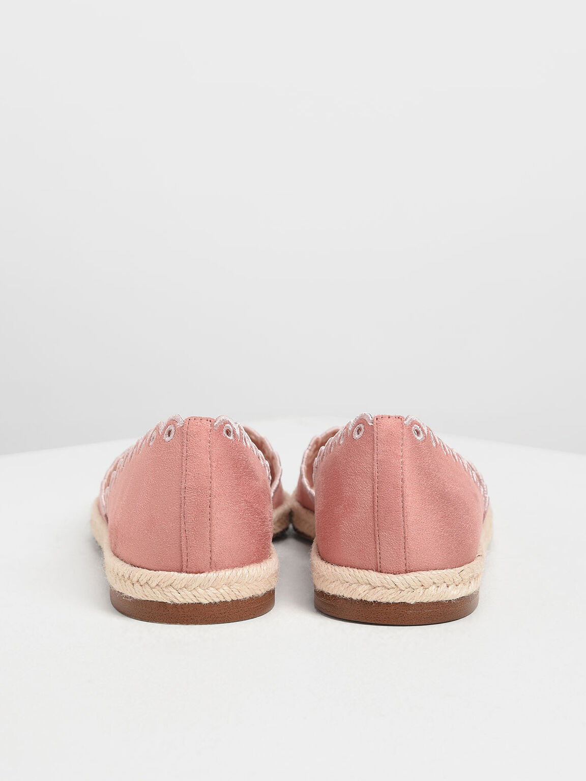 Scalloped Espadrille Covered Flats, Pink, hi-res