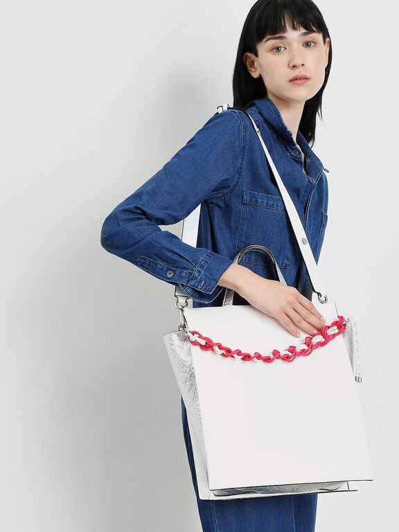 Double Handle Chain Link Tote Bag, White