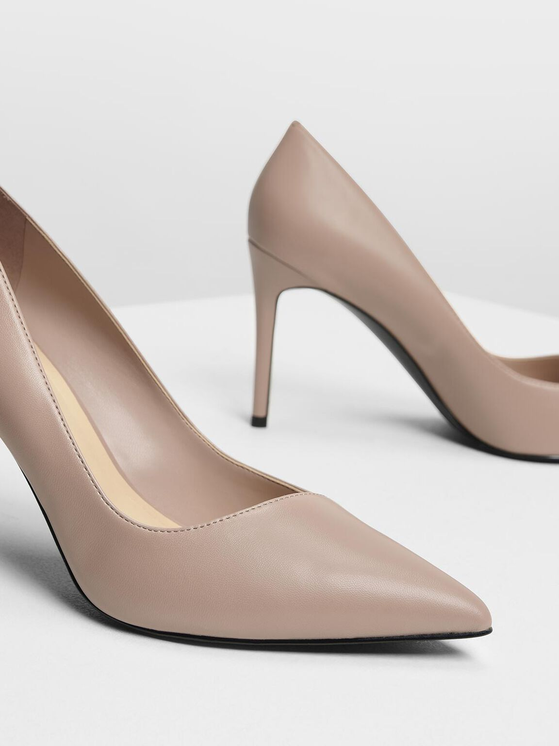 Asymmetrical Cut Stiletto Pumps, Nude, hi-res