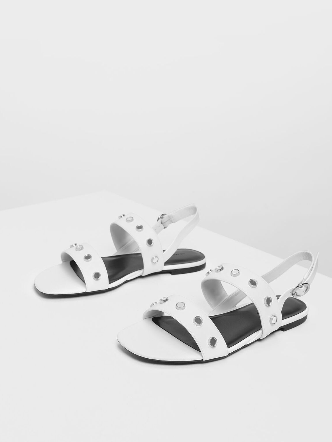Studded Slingback Sandals, White, hi-res