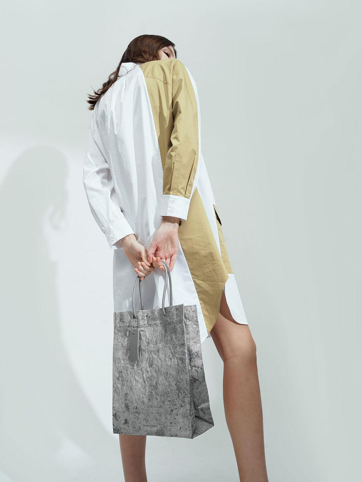 Crumpled-Effect Tote Bag, Grey, hi-res