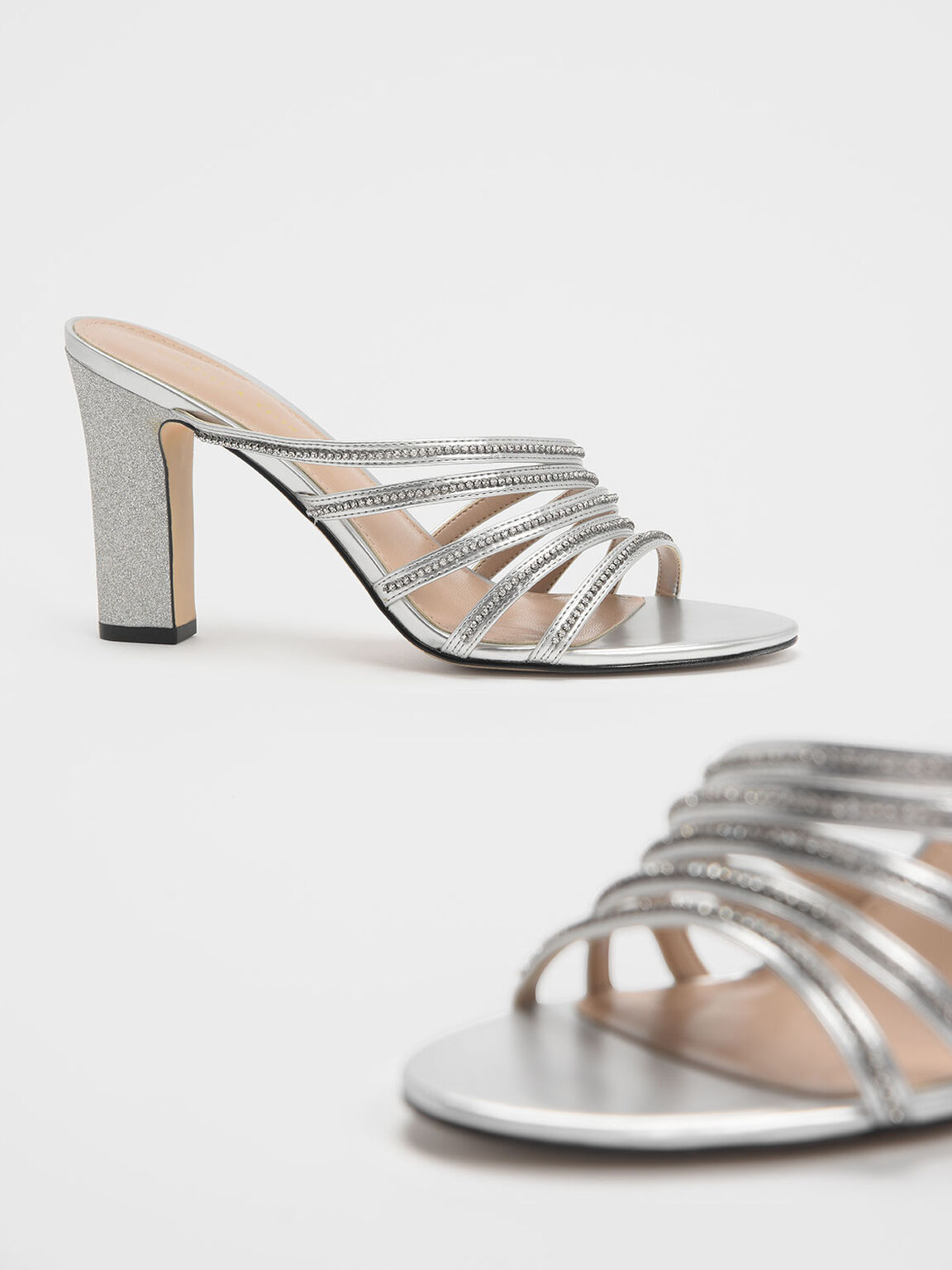 Embellished Strappy Heeled Slide Sandals, Silver, hi-res