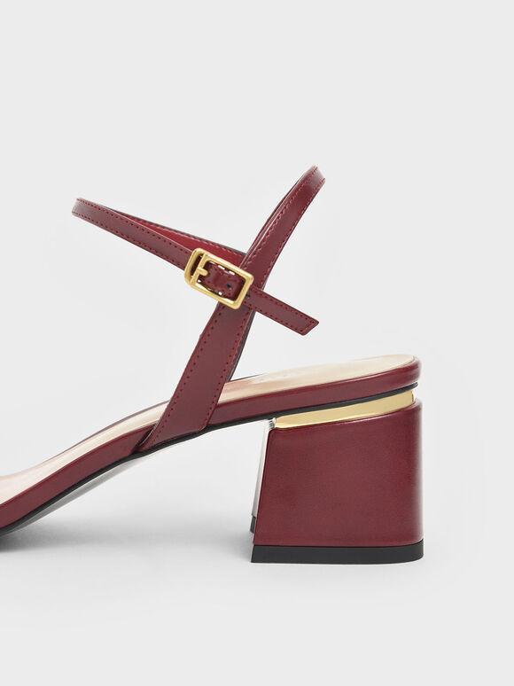 Open Toe Ankle Strap Block Heel Sandals, Red, hi-res