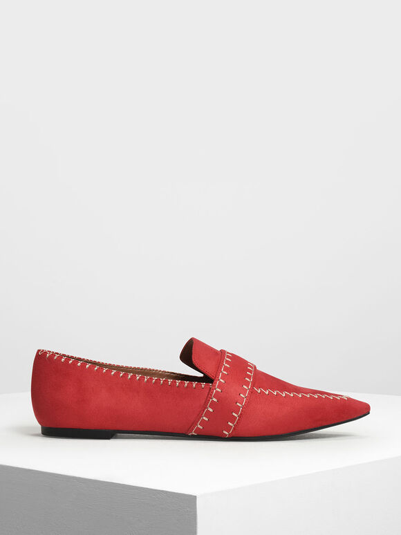 Stitch Detail Loafers, Red, hi-res