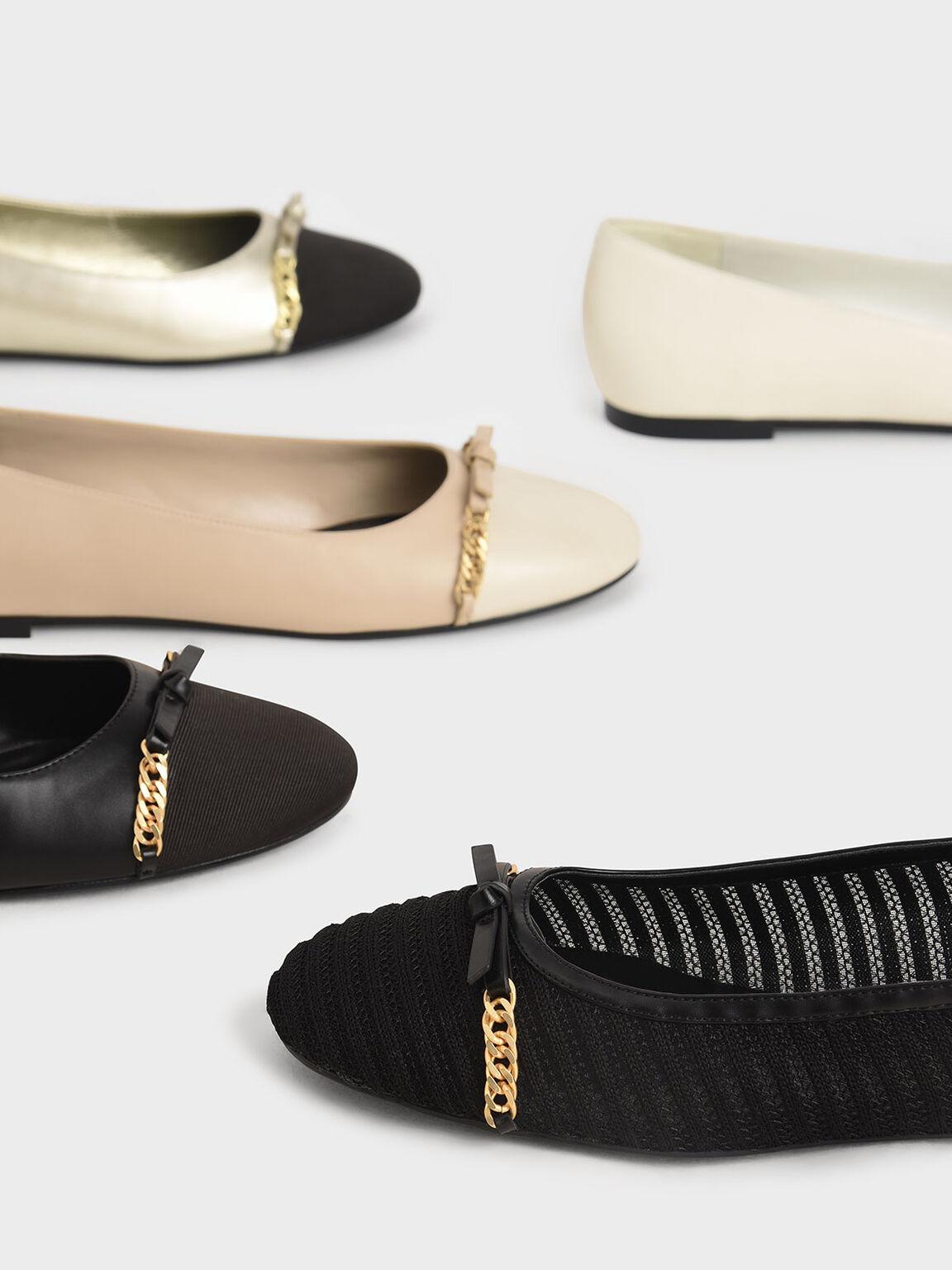 Textured Mesh Chain-Link Ballerina Flats, Black Textured, hi-res