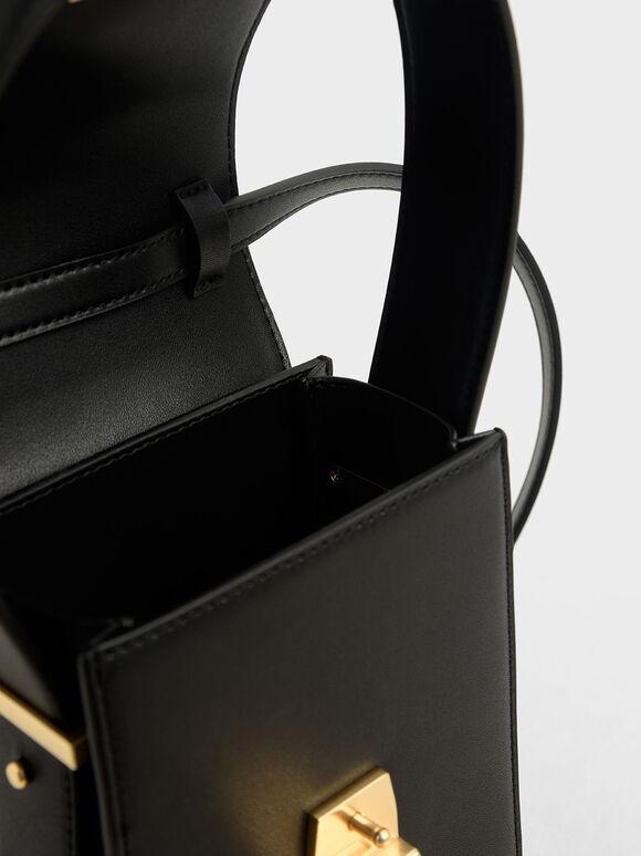 Elongated Front Flap Bag, Black, hi-res