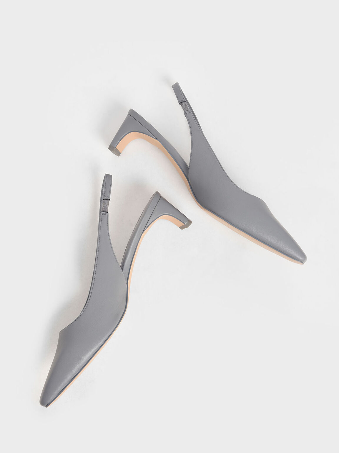 簡約薄片跟鞋, 藍色, hi-res