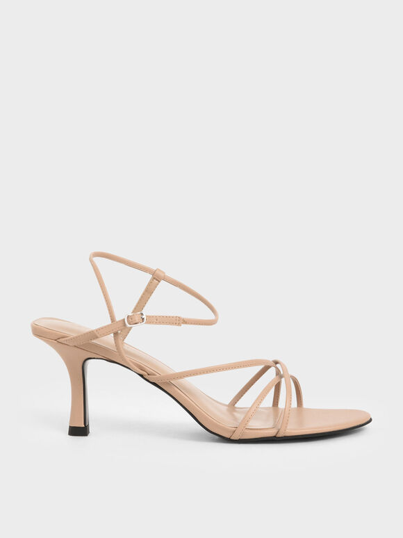 Strappy Sculptural Heel Sandals, Nude, hi-res